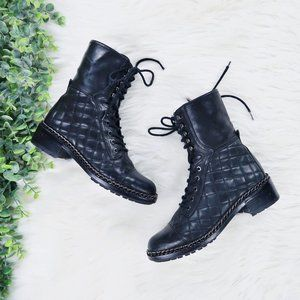 Vince Camuto Joanie Combat Leather Boots 5.5